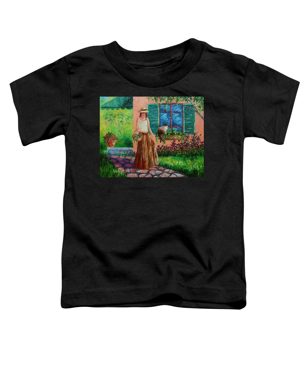 Woman Toddler T-Shirt featuring the painting Peaceful Thoughts by David G Paul