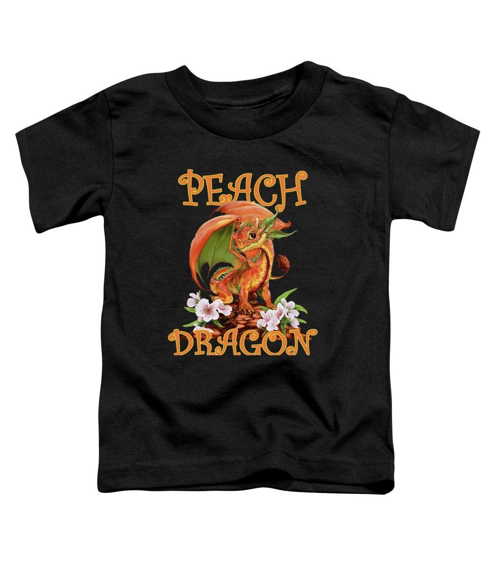 Peach Toddler T-Shirt featuring the digital art Peach Dragon by Stanley Morrison
