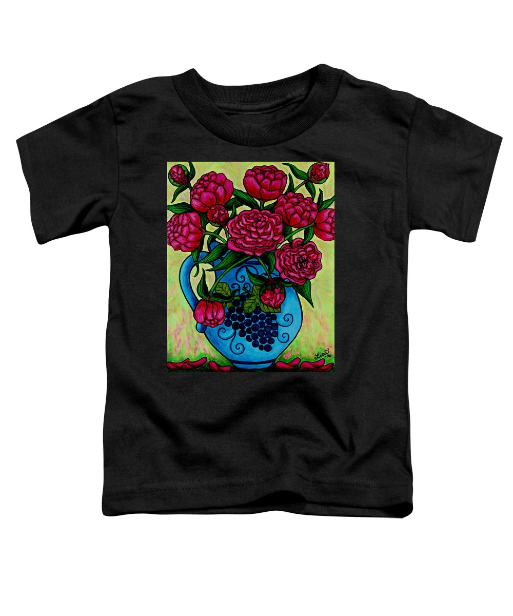 Peonies Toddler T-Shirt featuring the painting Peony Party by Lisa Lorenz