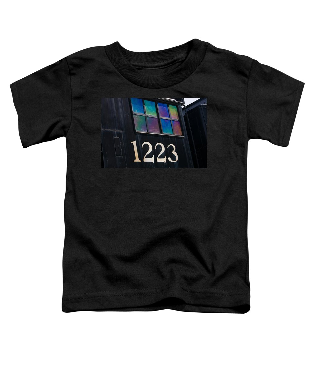 Train Toddler T-Shirt featuring the photograph Pere Marquette Locomotive 1223 by Adam Romanowicz