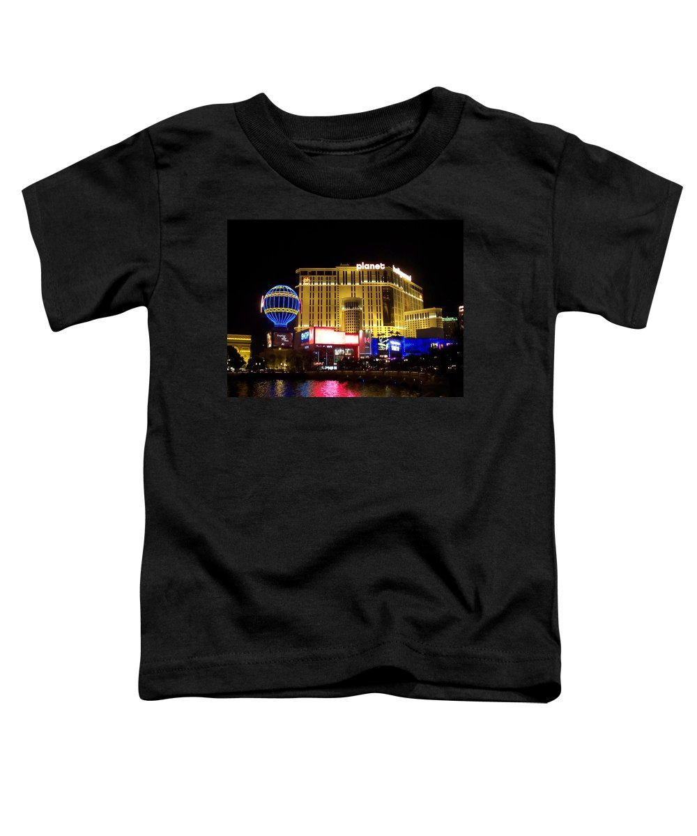 Vegas Toddler T-Shirt featuring the photograph Planet Hollywood By Night by Anita Burgermeister