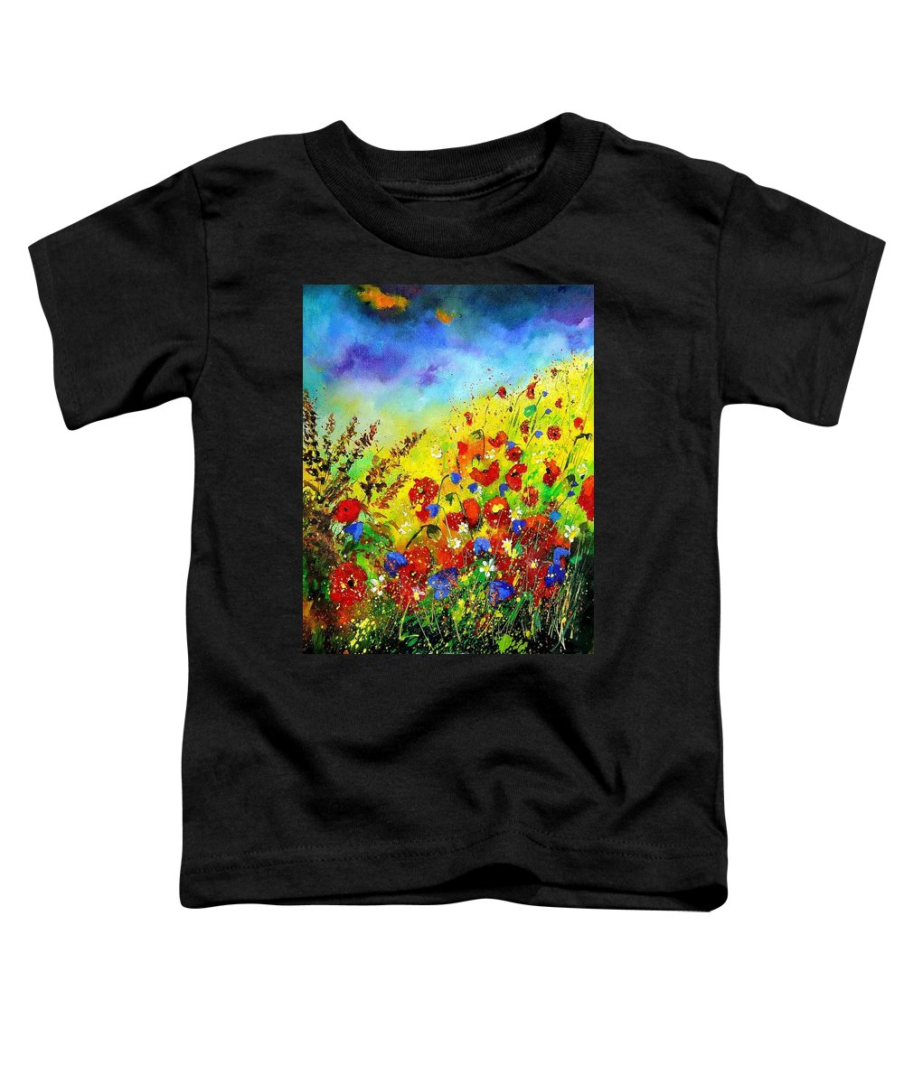 Poppies Toddler T-Shirt featuring the print Poppies And Blue Bells by Pol Ledent