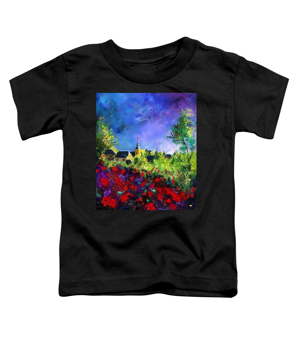 Flowers Toddler T-Shirt featuring the painting Poppies In Villers by Pol Ledent