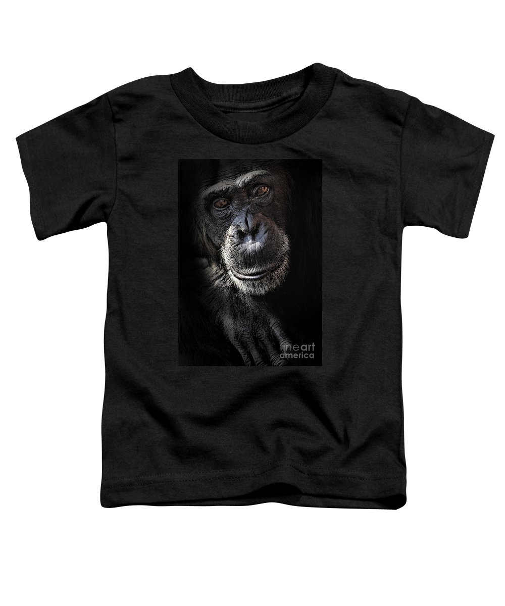 Chimp Toddler T-Shirt featuring the photograph Portrait Of A Chimpanzee by Sheila Smart Fine Art Photography