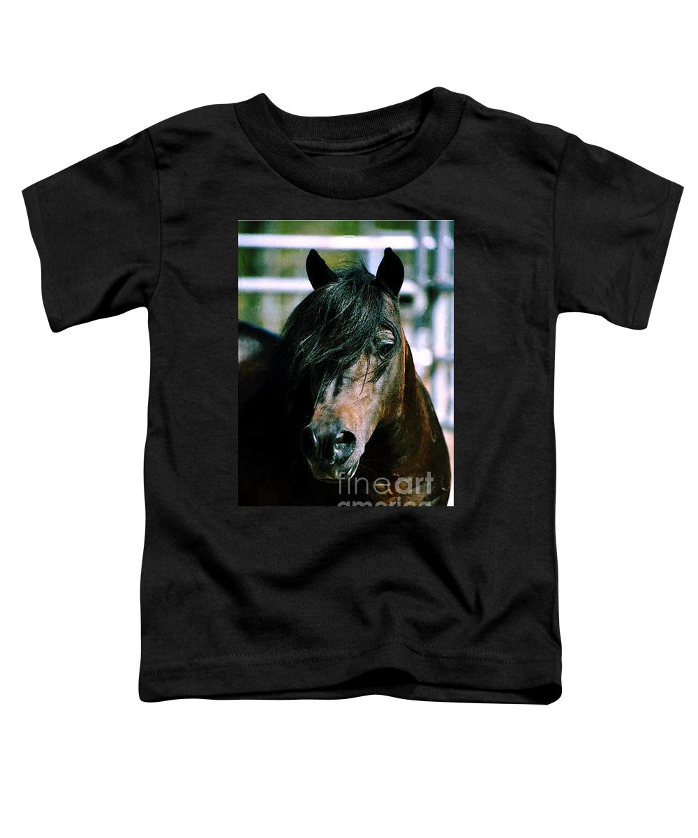 Horse Toddler T-Shirt featuring the photograph Portrait Of His Majesty - The King by Kathy McClure