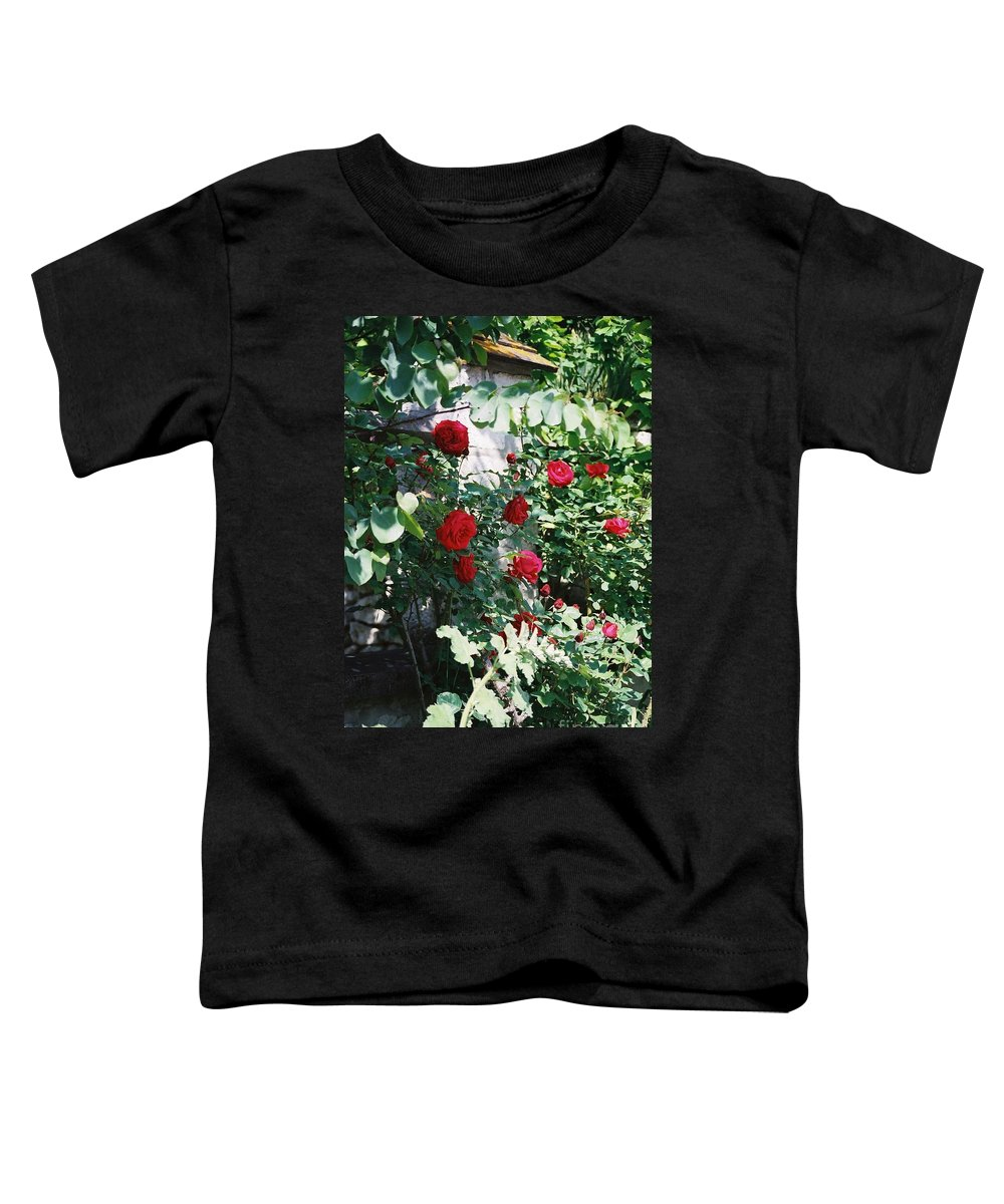 Floral Toddler T-Shirt featuring the photograph Provence Red Roses by Nadine Rippelmeyer