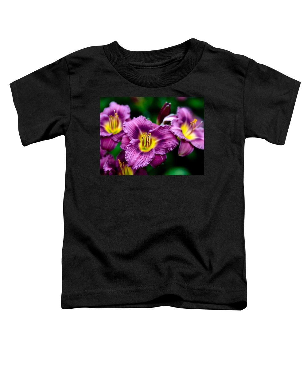 Flower Toddler T-Shirt featuring the photograph Purple Day Lillies by Marilyn Hunt
