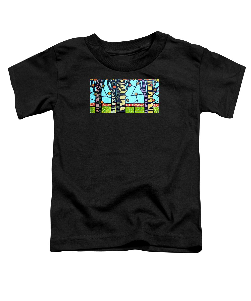 Birch Trees Toddler T-Shirt featuring the painting Quilted Birch Garden by Jim Harris