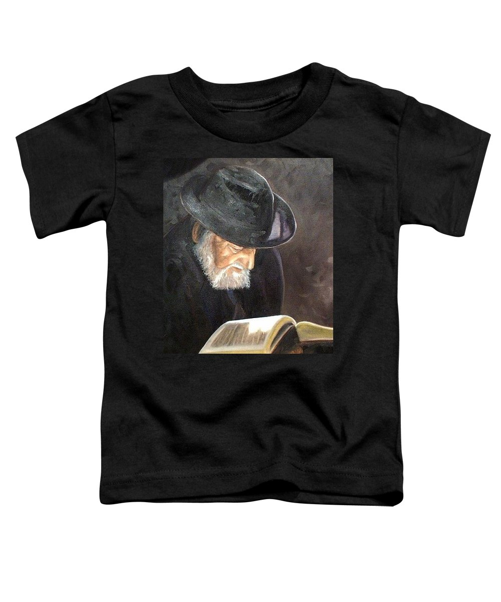 Portrait Toddler T-Shirt featuring the painting Rabbi by Toni Berry
