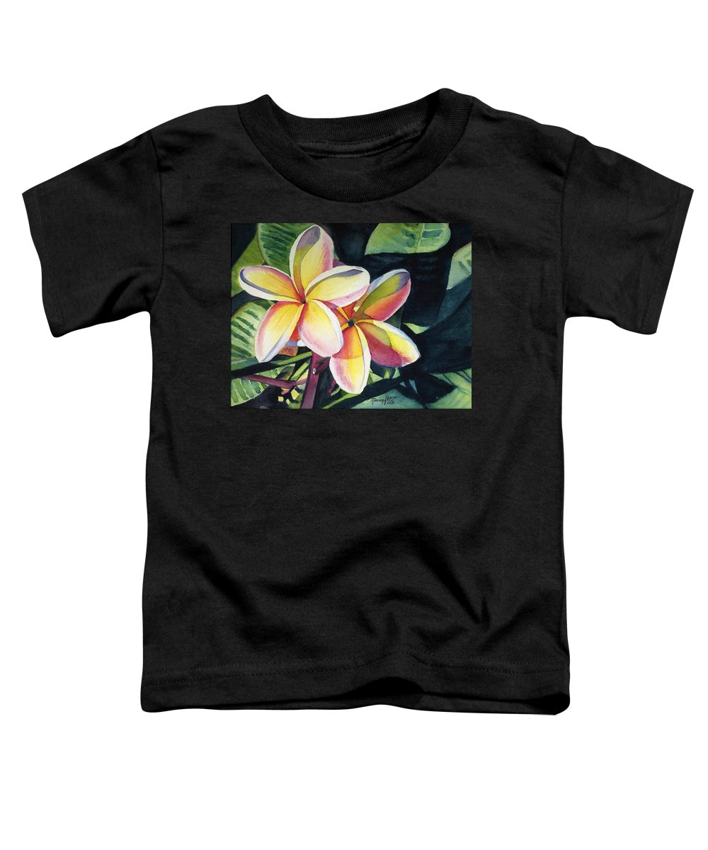 Rainbow Toddler T-Shirt featuring the painting Rainbow Plumeria by Marionette Taboniar