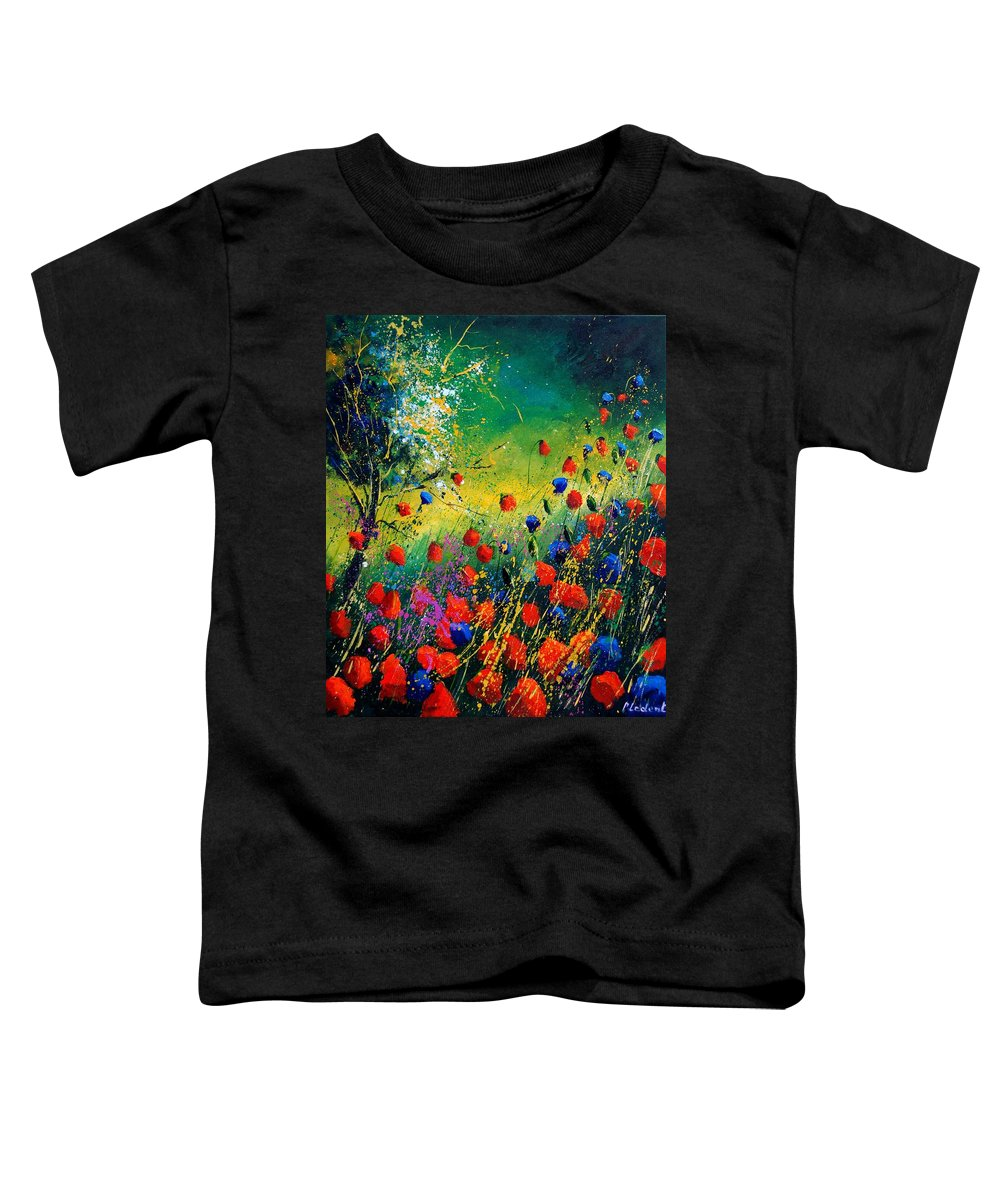 Flowers Toddler T-Shirt featuring the painting Red And Blue Poppies by Pol Ledent