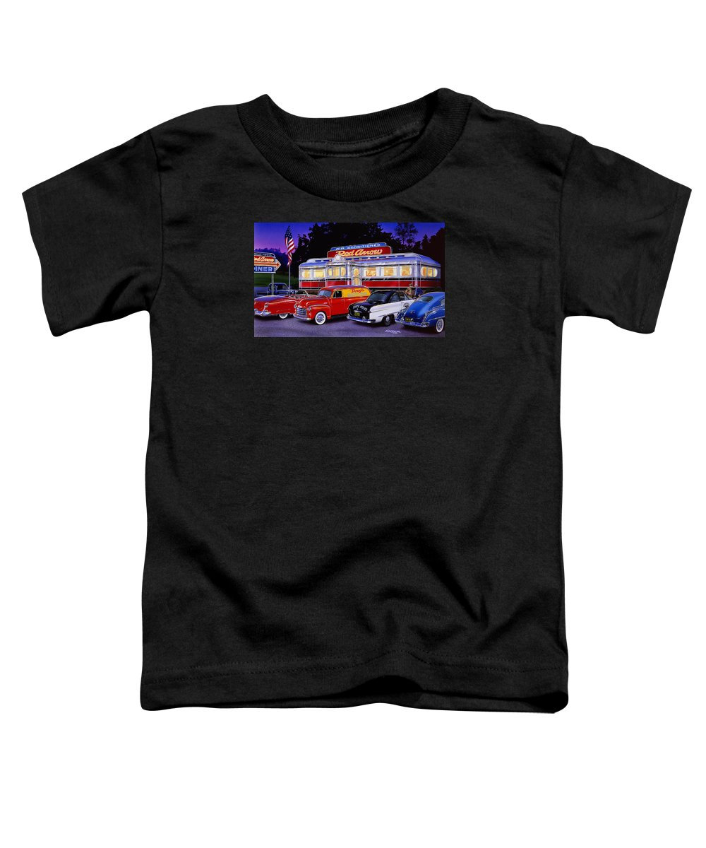Old Style Toddler T-Shirt featuring the photograph Red Arrow Diner by MGL Meiklejohn Graphics Licensing