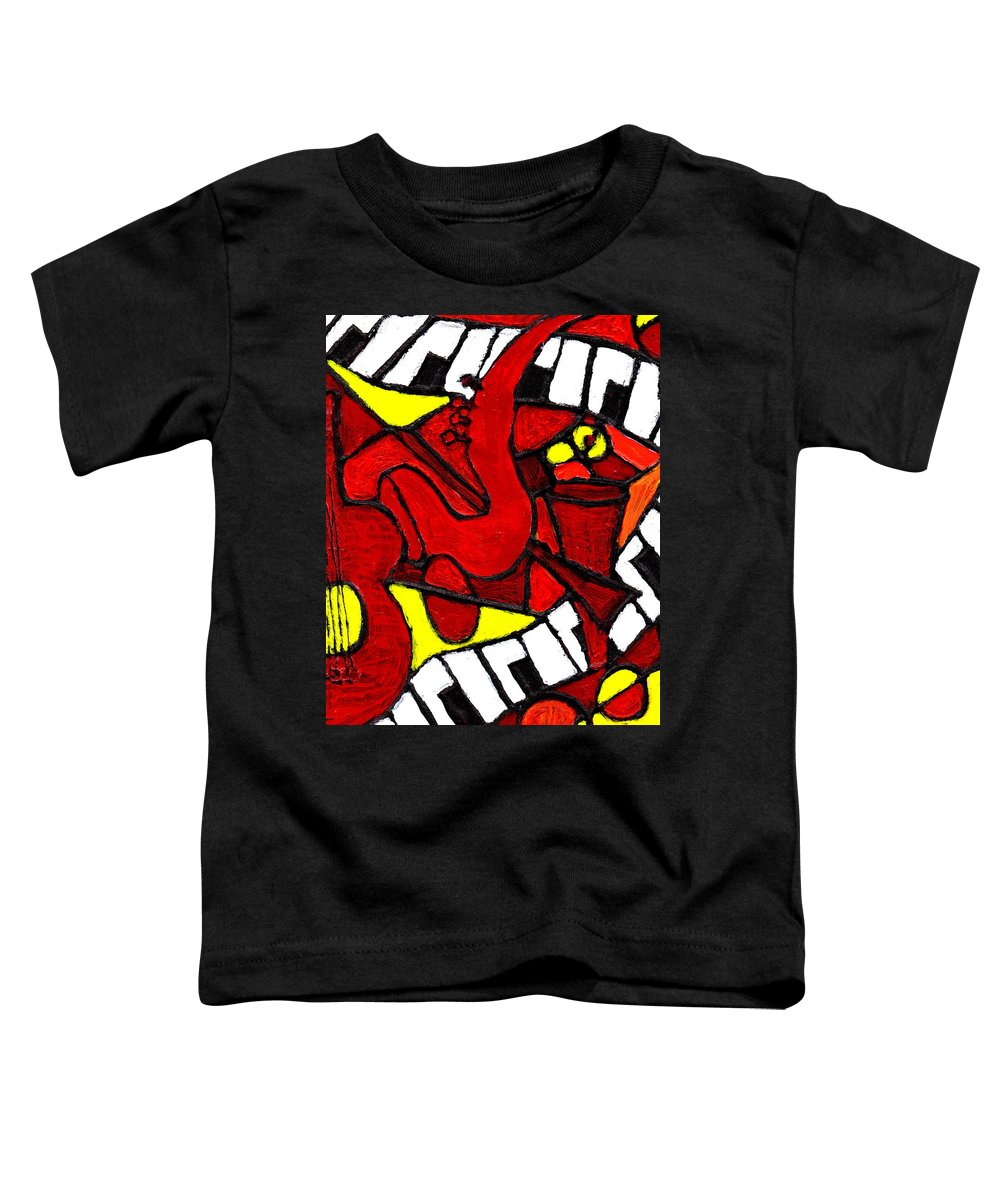Jazz Toddler T-Shirt featuring the painting Red Hot Jazz by Wayne Potrafka
