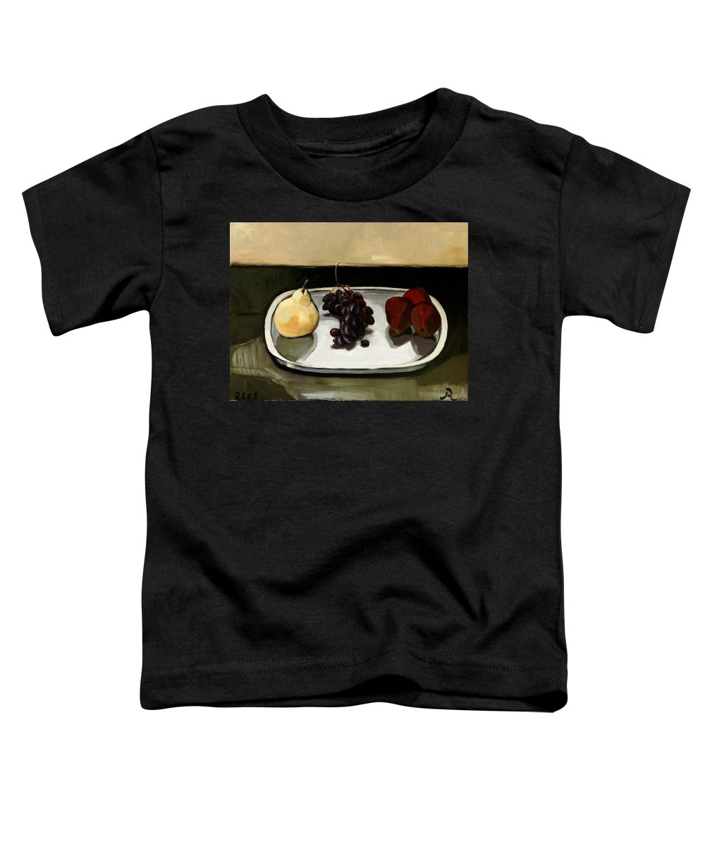Still-life Grapes Pears Toddler T-Shirt featuring the painting Red Pears by Raimonda Jatkeviciute-Kasparaviciene