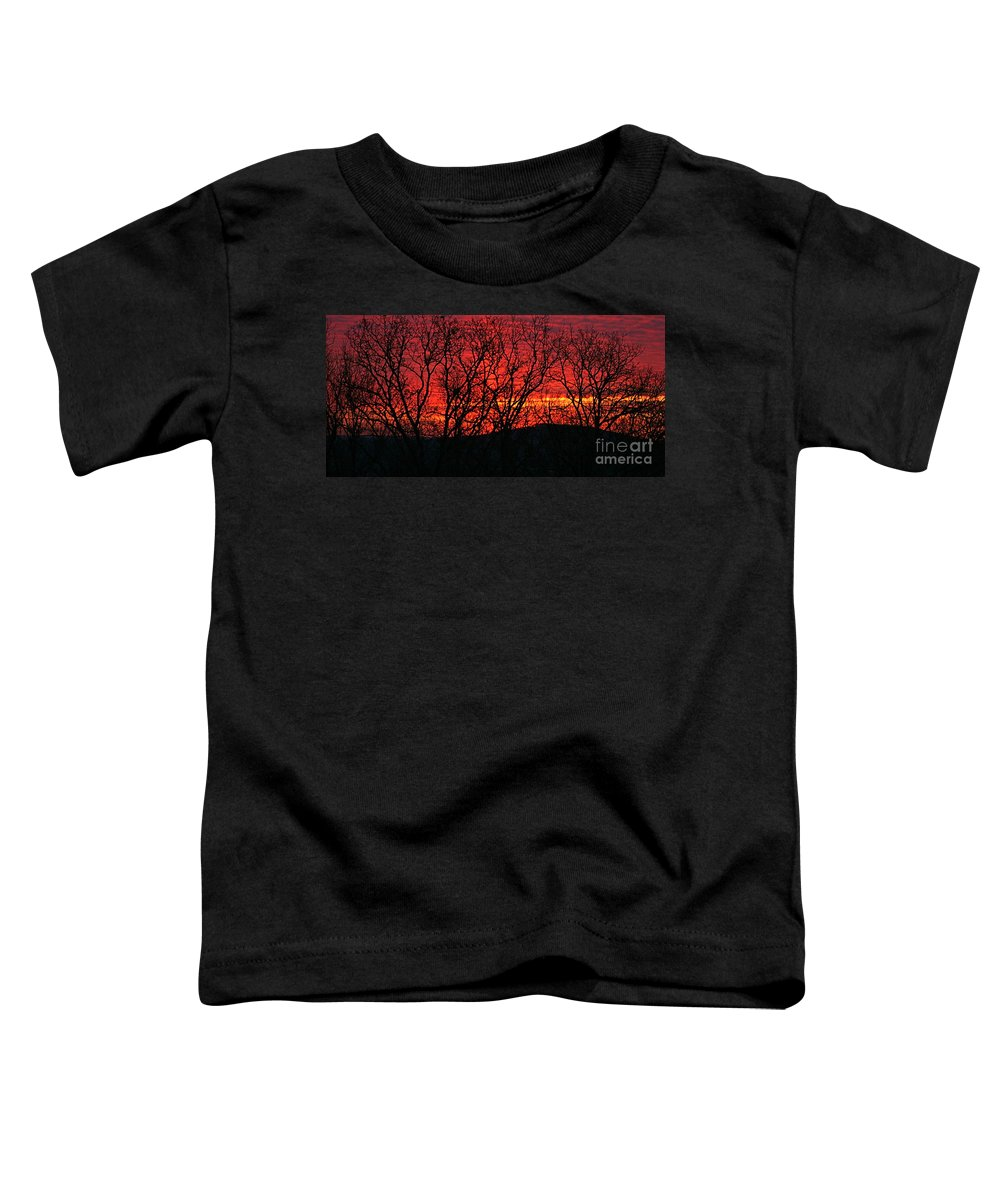 Sunrise Toddler T-Shirt featuring the photograph Red Sunrise Over The Ozarks by Nadine Rippelmeyer