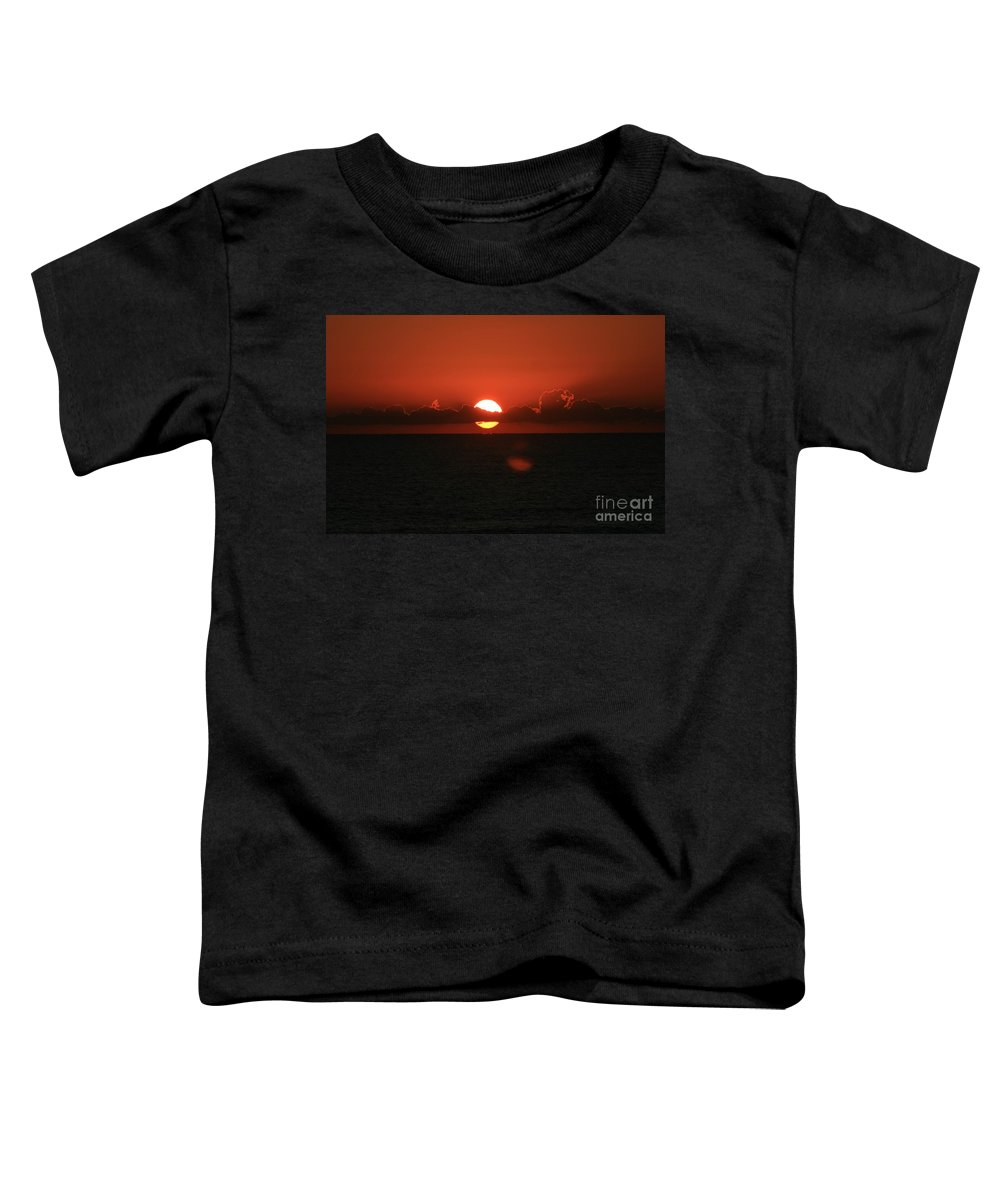Sunset Toddler T-Shirt featuring the photograph Red Sunset Over The Atlantic by Nadine Rippelmeyer