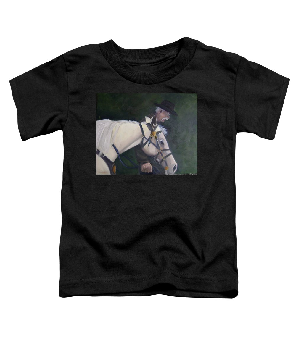 Old Man Horse... Toddler T-Shirt featuring the painting revised- Man's Best Friend by Toni Berry