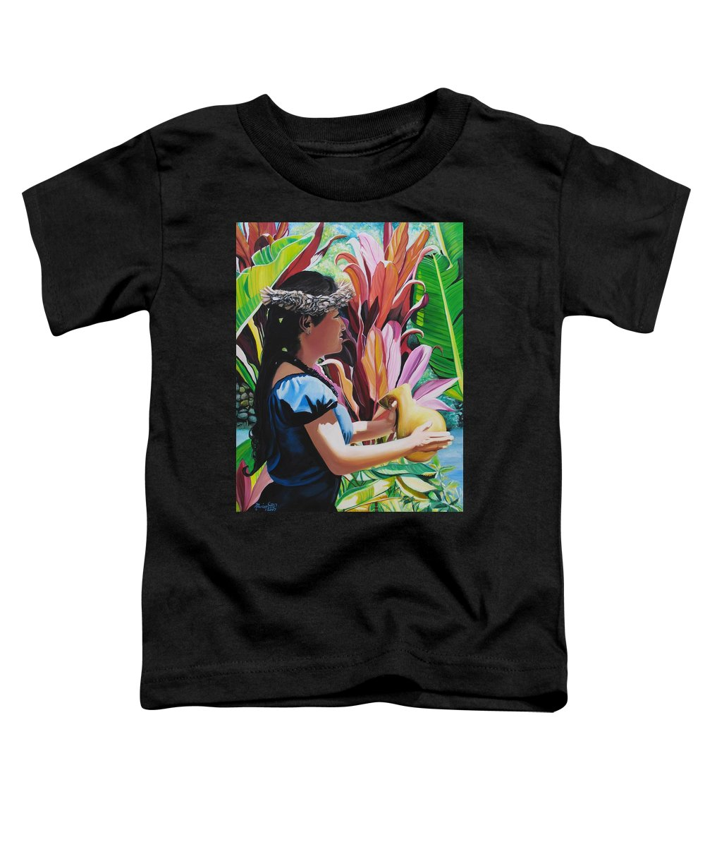 Rhythm Toddler T-Shirt featuring the painting Rhythm Of The Hula by Marionette Taboniar