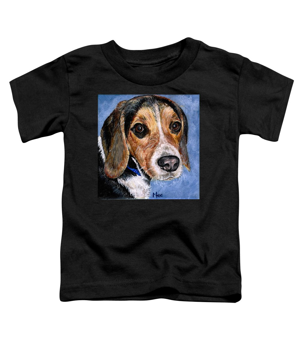 Dog Toddler T-Shirt featuring the painting Rocky by Mary-Lee Sanders