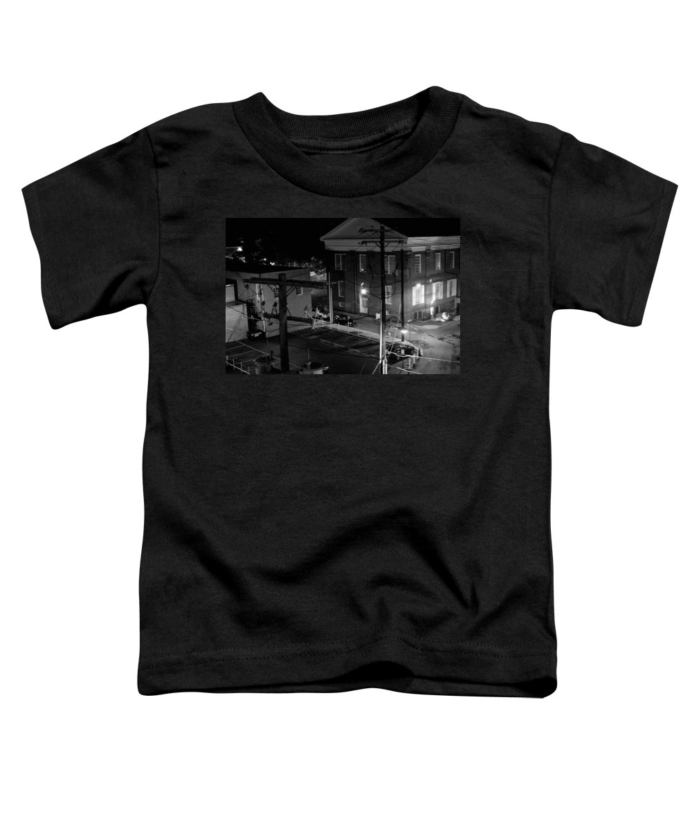 Black White Toddler T-Shirt featuring the photograph Rooftop Court by Jean Macaluso