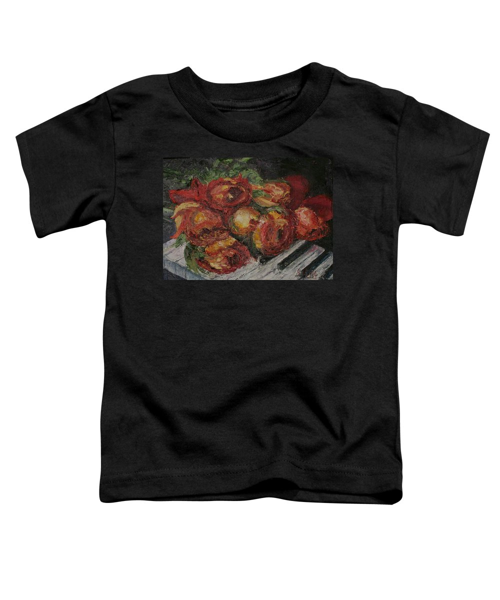 Still Life Toddler T-Shirt featuring the painting Rose Melody by Stephen King