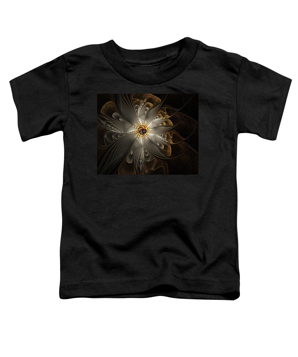 Digital Art Toddler T-Shirt featuring the digital art Rosette In Gold And Silver by Amanda Moore