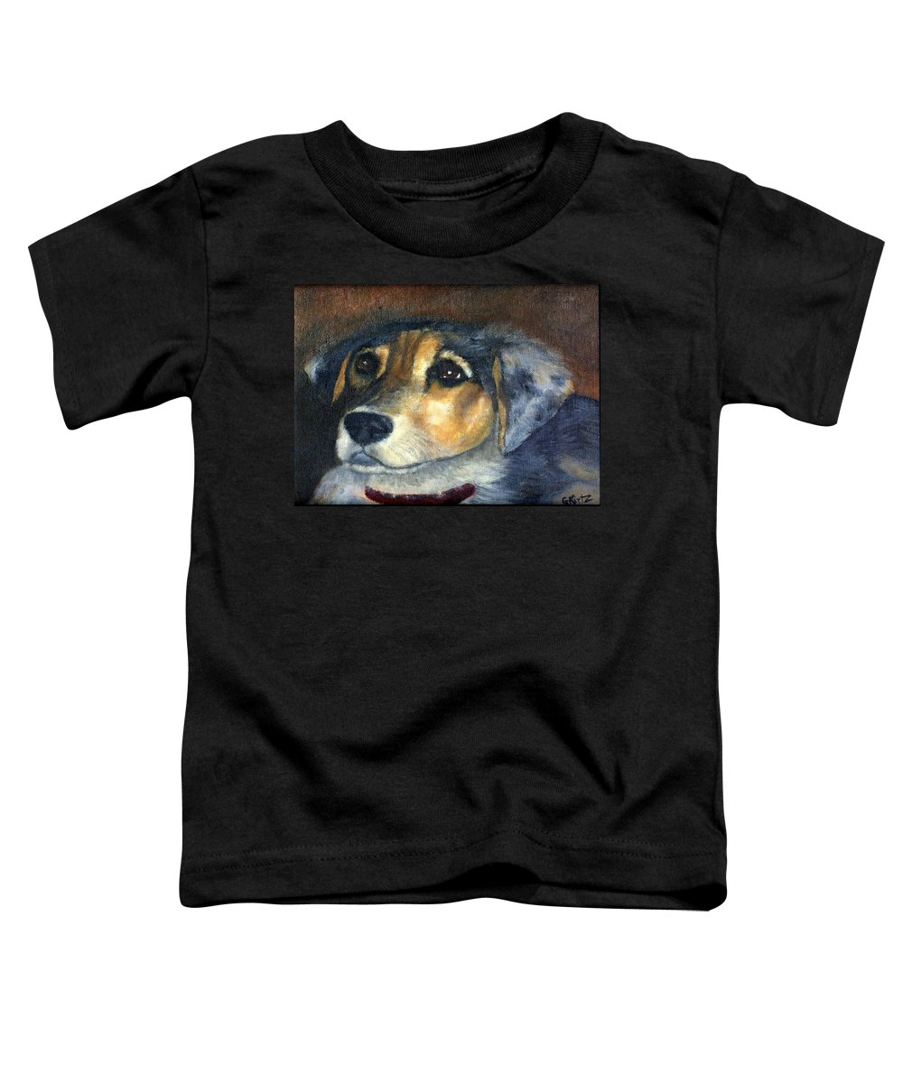 Dog Toddler T-Shirt featuring the painting Roxie by Gail Kirtz