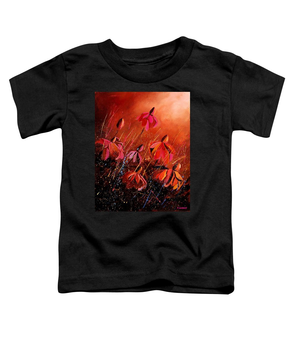 Poppies Toddler T-Shirt featuring the painting Rudbeckia's 45 by Pol Ledent