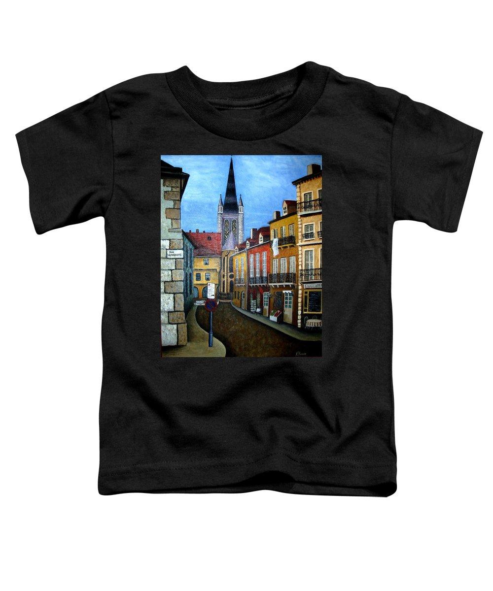 Street Scene Toddler T-Shirt featuring the painting Rue Lamonnoye In Dijon France by Nancy Mueller