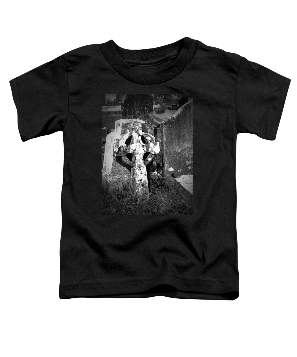 Celtic Toddler T-Shirt featuring the photograph Rugged Cross At Fuerty Cemetery Roscommon Ireland by Teresa Mucha