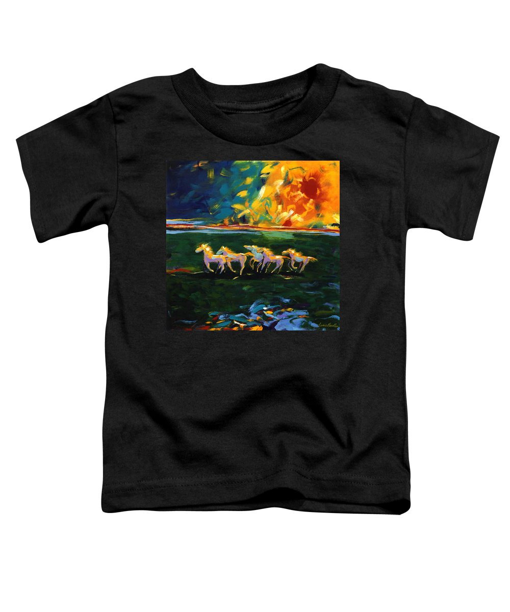 Abstract Horse Toddler T-Shirt featuring the painting Run From The Sun by Lance Headlee