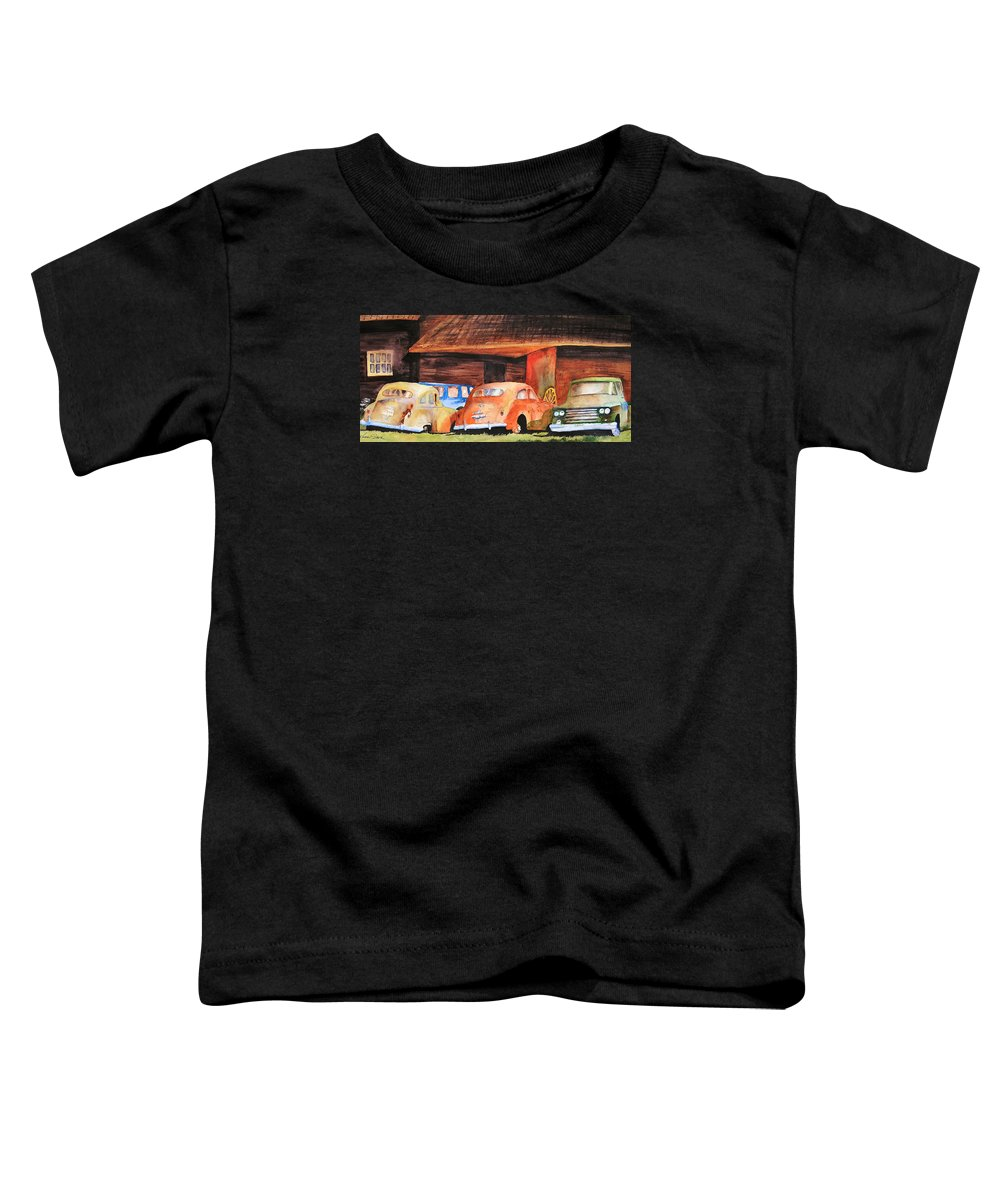 Car Toddler T-Shirt featuring the painting Rusting by Karen Stark