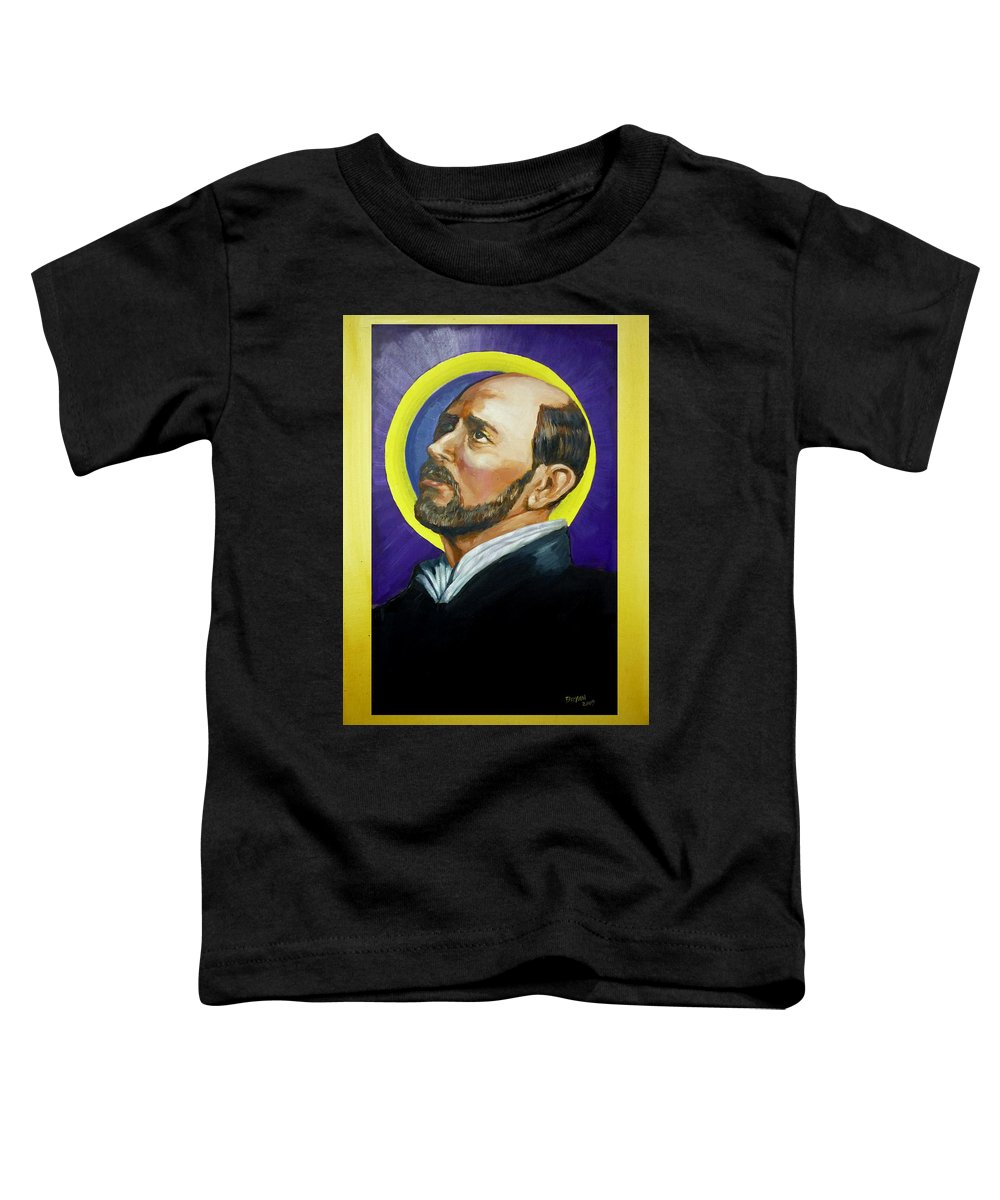 Saint Toddler T-Shirt featuring the painting Saint Ignatius Loyola by Bryan Bustard