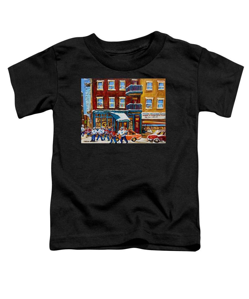 Montreal Toddler T-Shirt featuring the painting Saint Viateur Bagel With Hockey by Carole Spandau