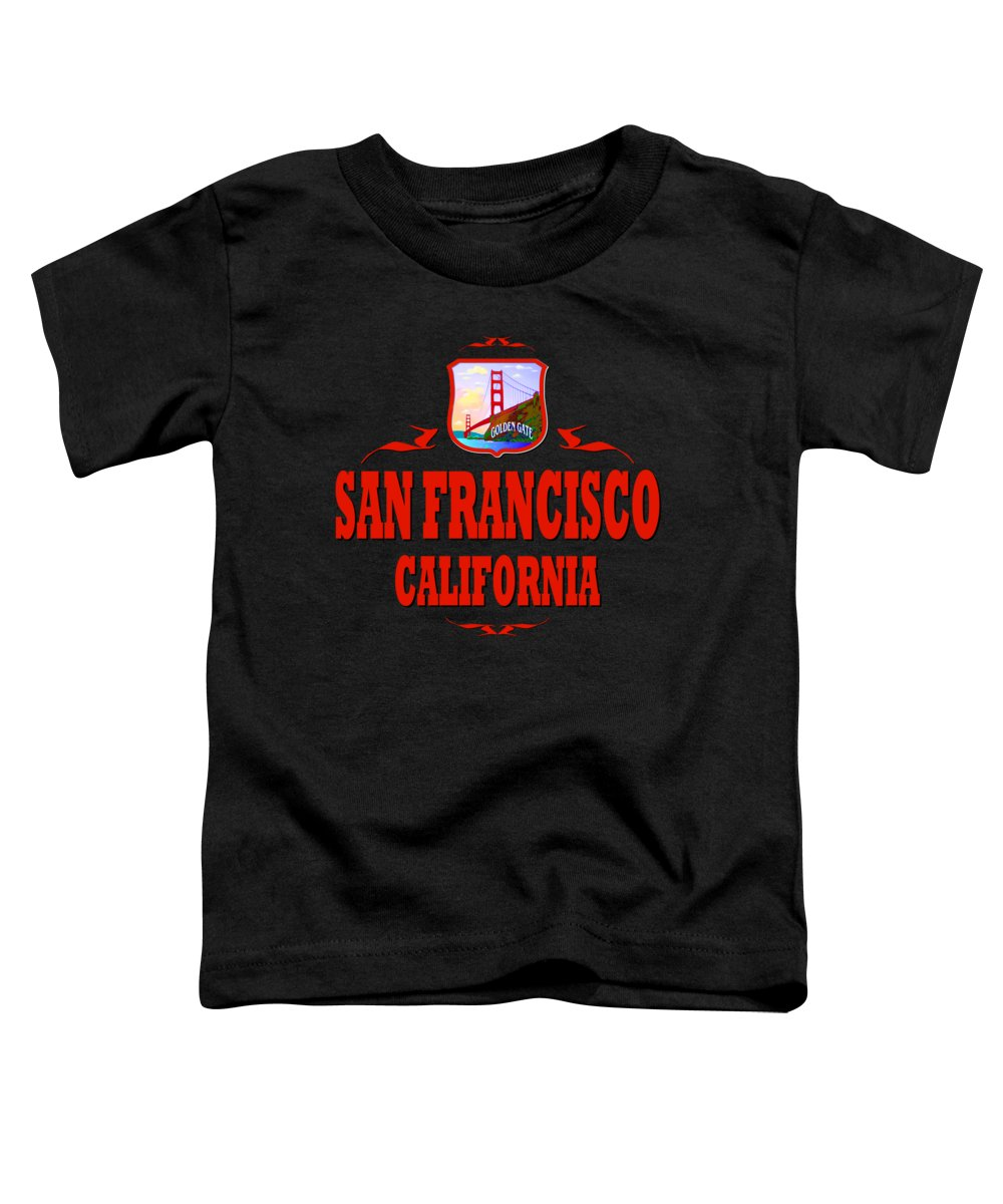 Sanfrancisco Toddler T-Shirt featuring the mixed media San Francisco California Golden Gate Design by Peter Potter