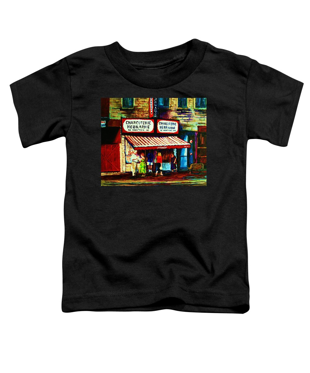 Schwartz Deli Toddler T-Shirt featuring the painting Schwartzs Famous Smoked Meat by Carole Spandau