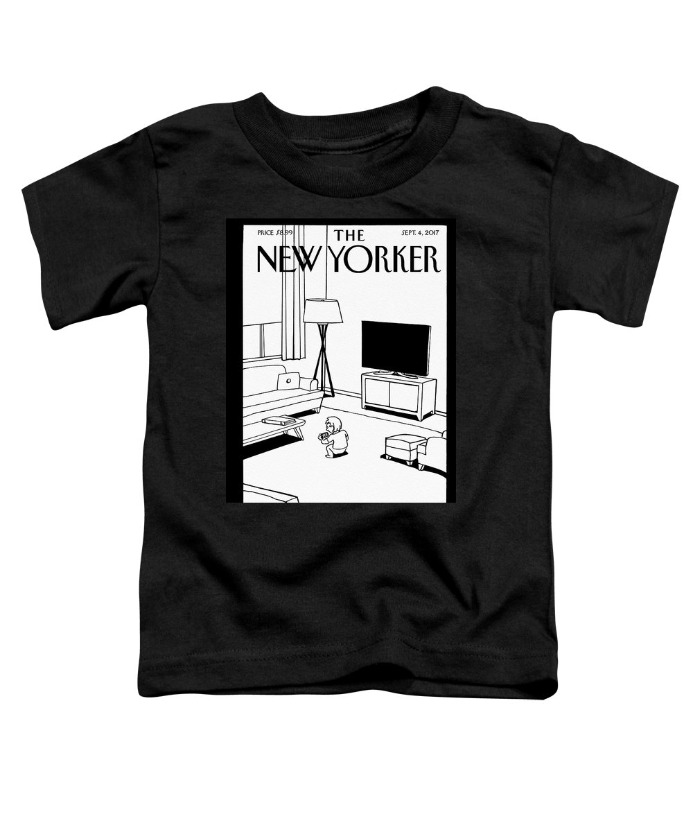 Screen Time Toddler T-Shirt featuring the drawing Screen Time by Bruce Eric Kaplan