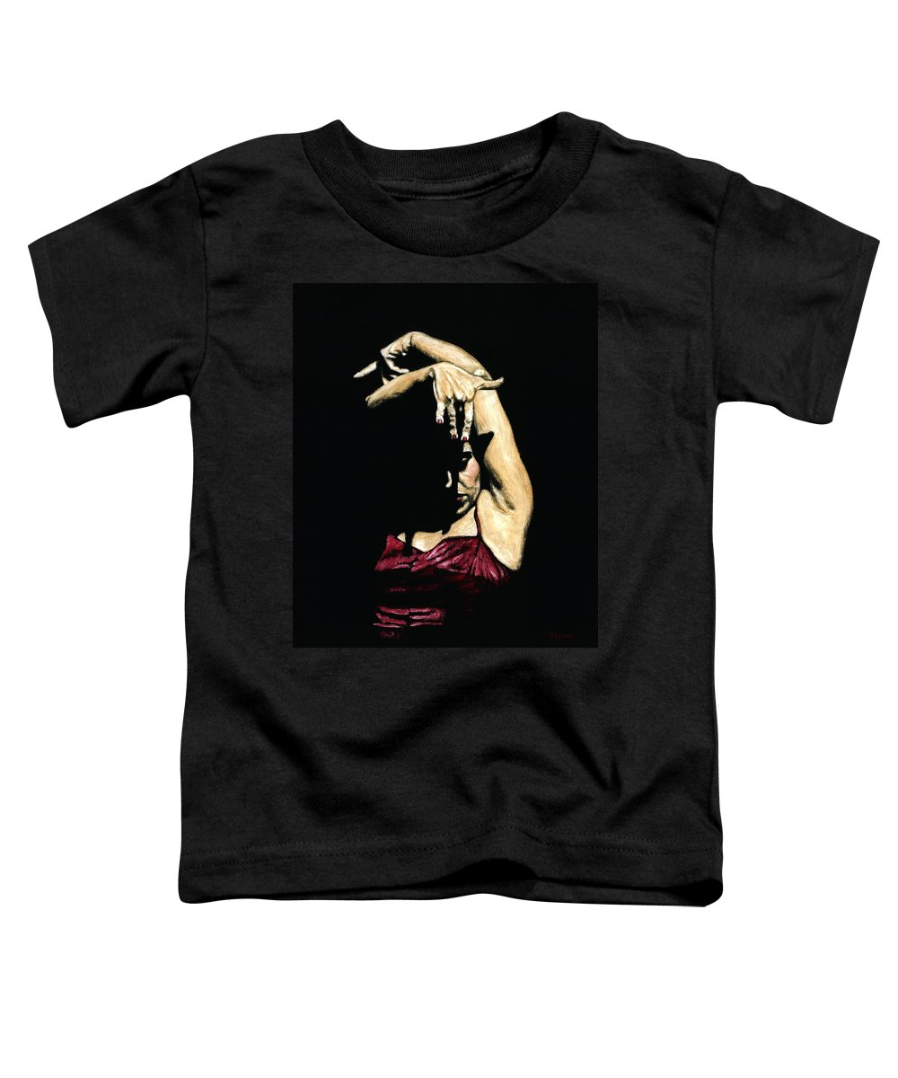 Flamenco Toddler T-Shirt featuring the painting Seclusion Del Flamenco by Richard Young