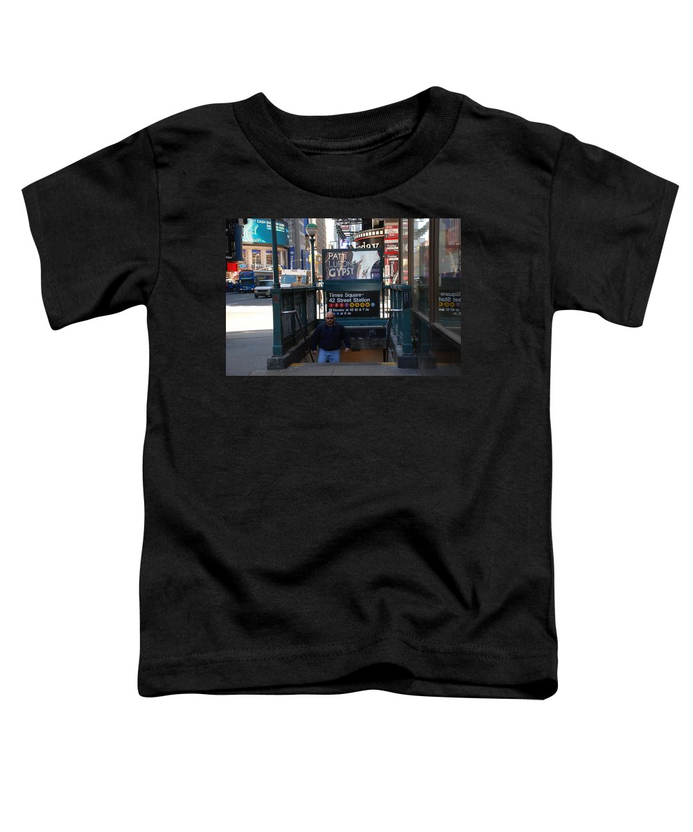 Subay Toddler T-Shirt featuring the photograph Self At Subway Stairs by Rob Hans