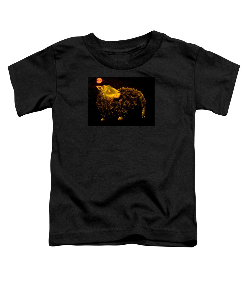 Sheep Toddler T-Shirt featuring the painting Sheep At Night by Mark Cawood