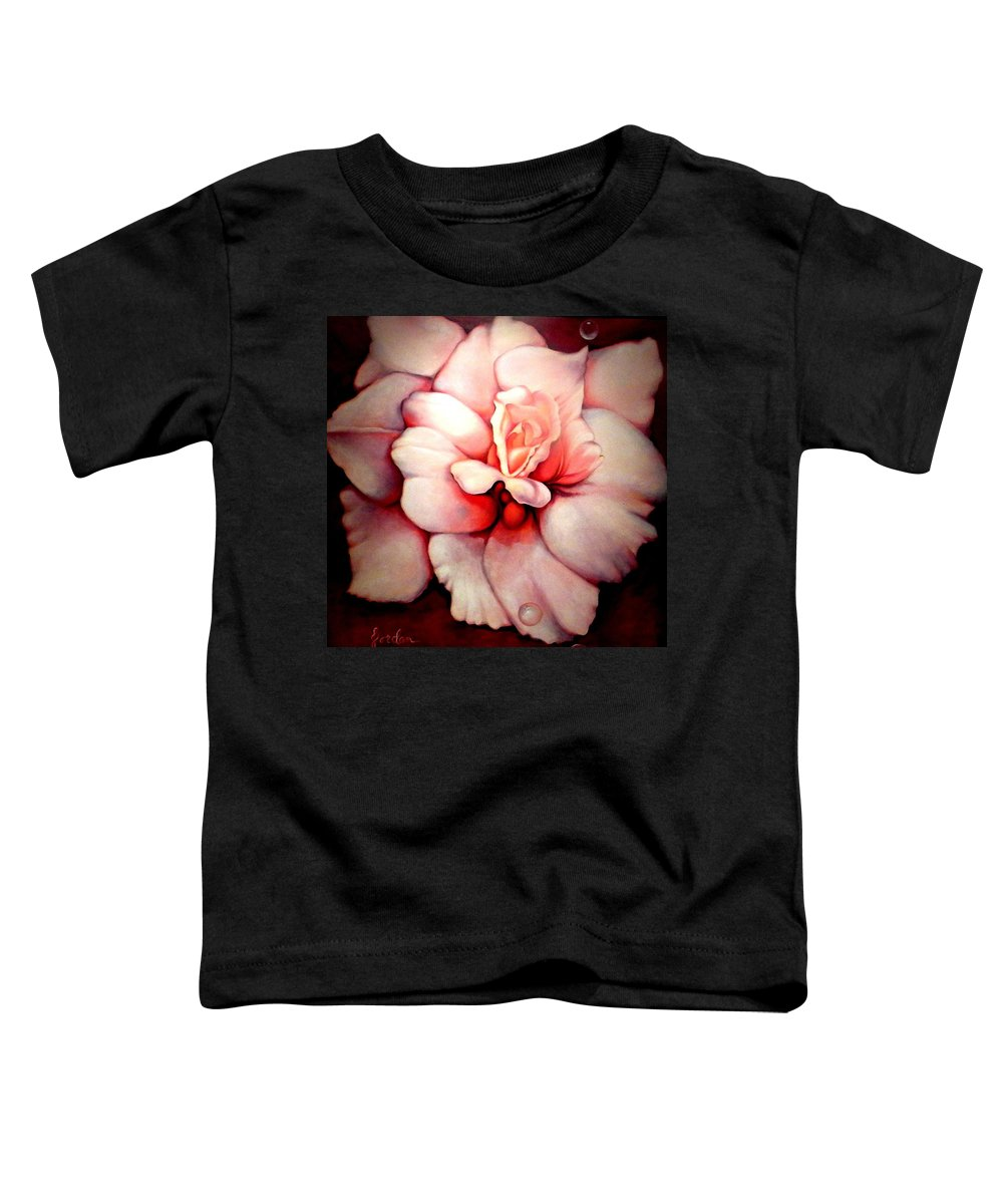 Blooms.large Rose Toddler T-Shirt featuring the painting Sheer Bliss by Jordana Sands