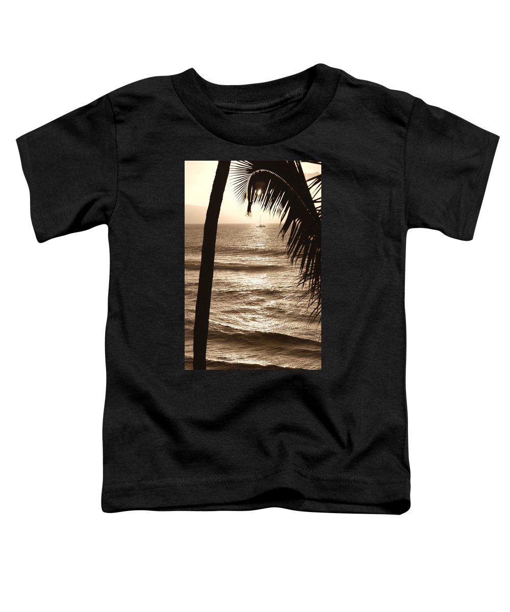 Hawaii Toddler T-Shirt featuring the photograph Ship In Sunset by Marilyn Hunt