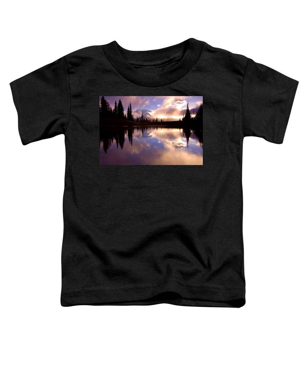Rainier Toddler T-Shirt featuring the photograph Shrouded In Clouds by Mike Dawson