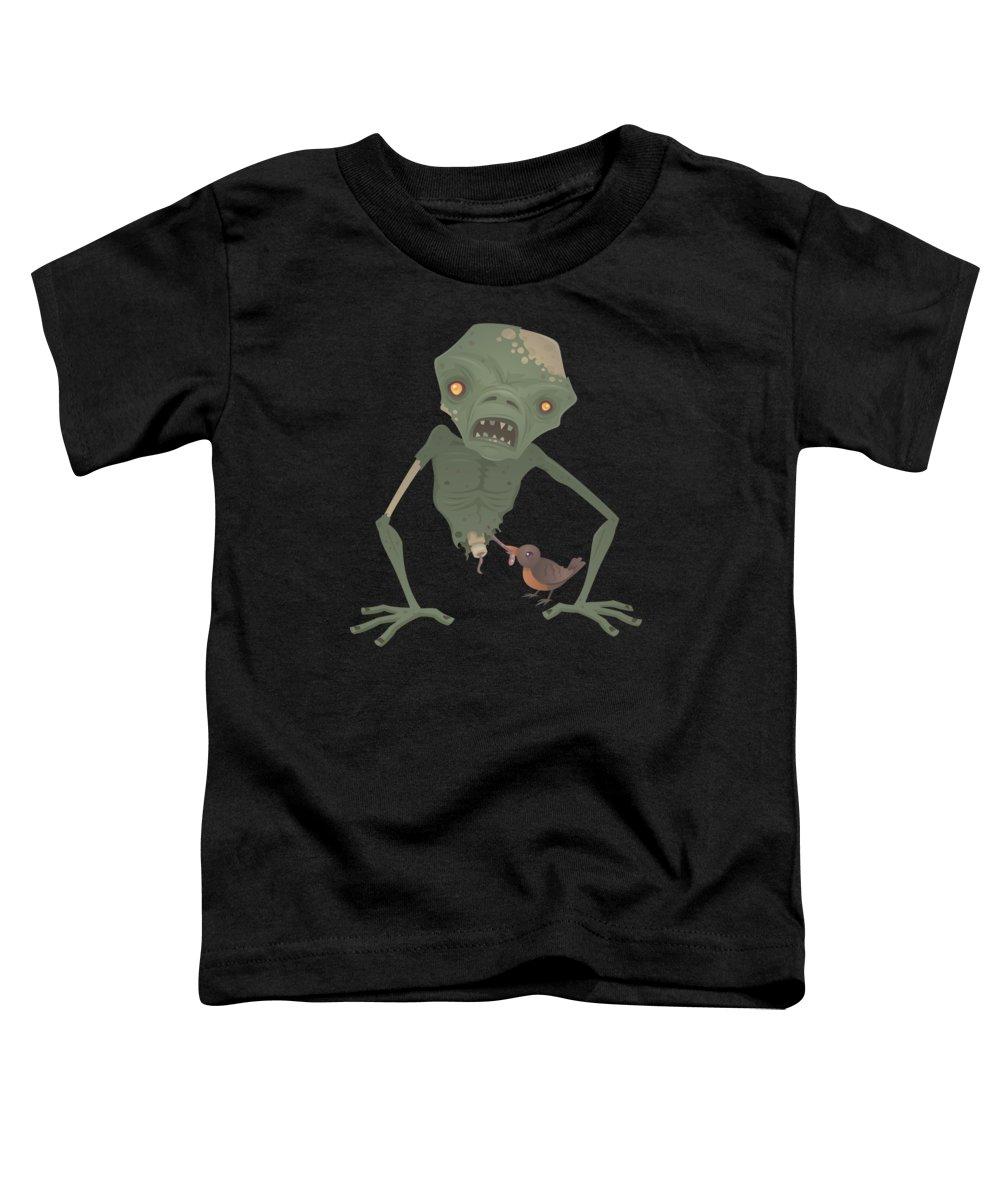 Zombie Toddler T-Shirt featuring the digital art Sickly Zombie by John Schwegel