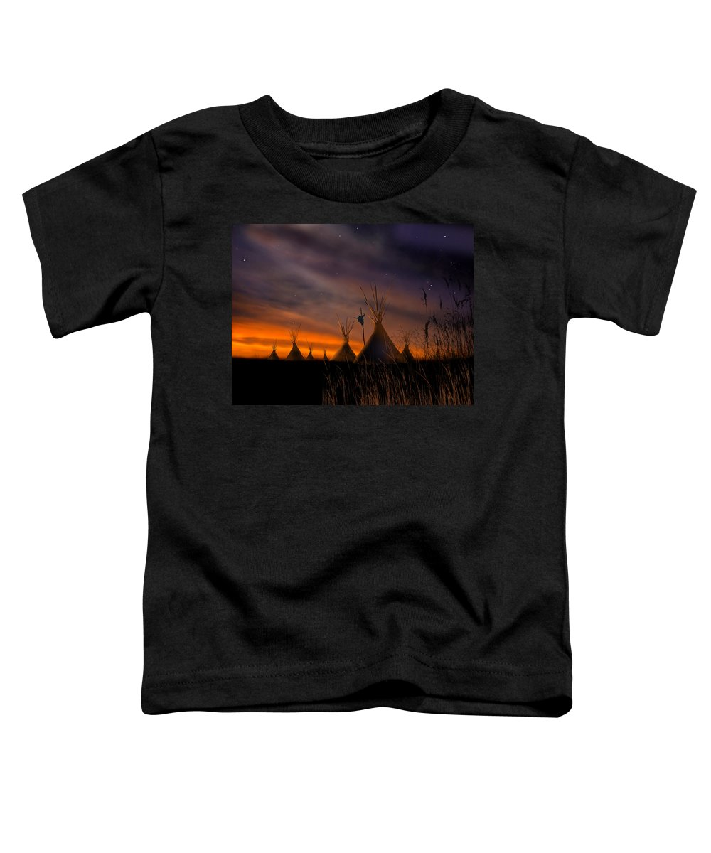 Native American Toddler T-Shirt featuring the painting Silent Teepees by Paul Sachtleben