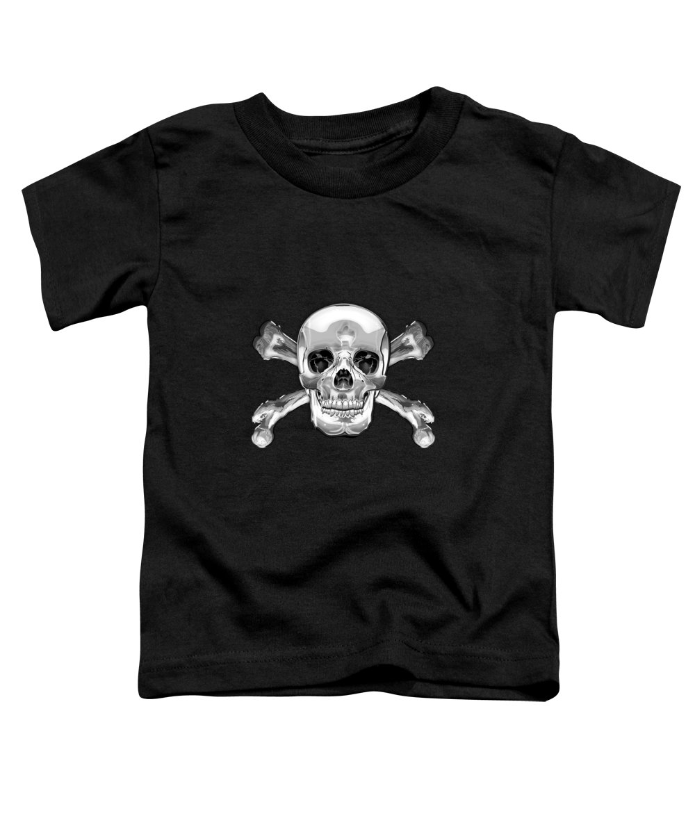 'visual Art Pop' Collection By Serge Averbukh Toddler T-Shirt featuring the digital art Silver Human Skull On Black Leather by Serge Averbukh