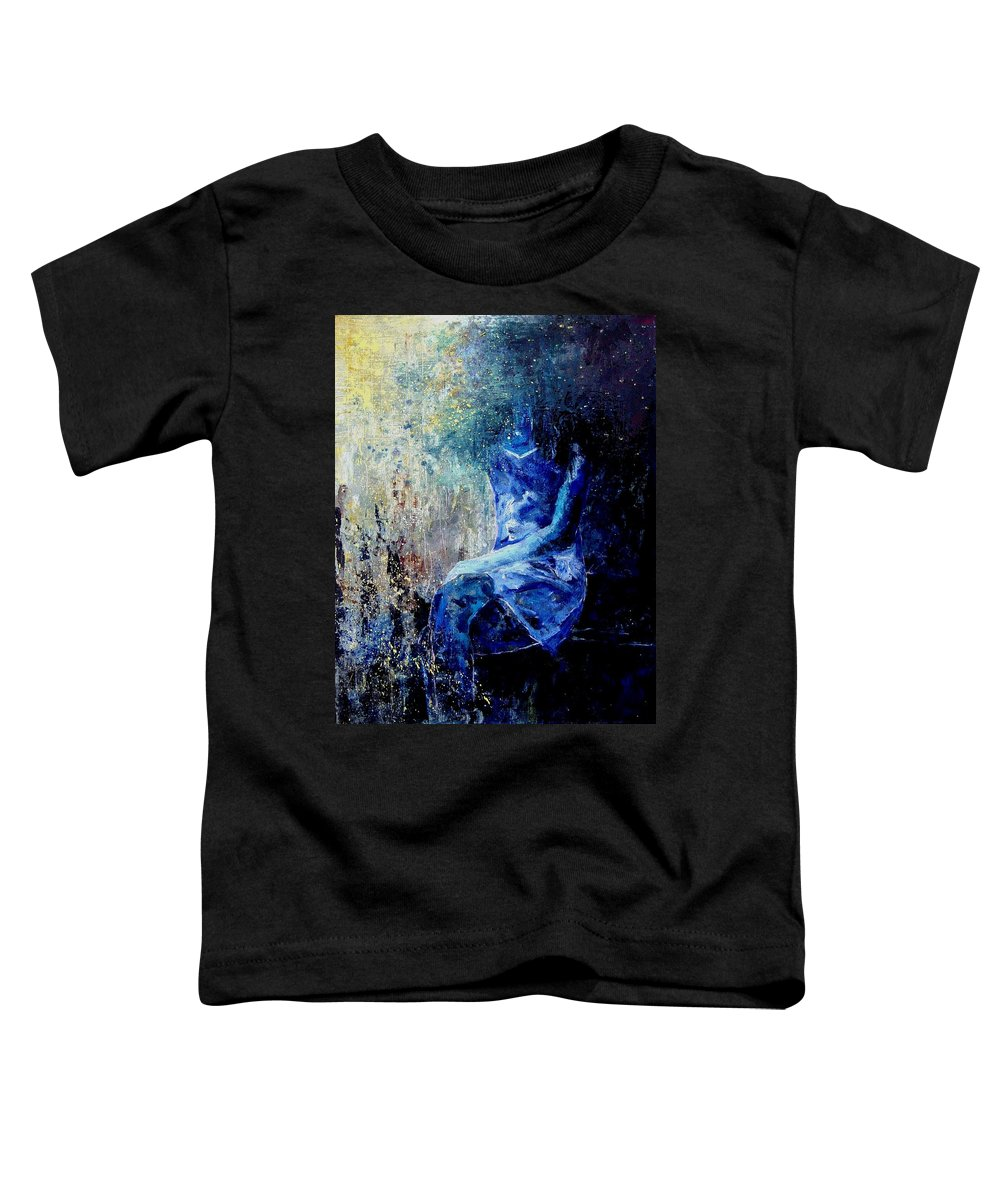 Woman Girl Fashion Toddler T-Shirt featuring the painting Sitting Young Girl by Pol Ledent