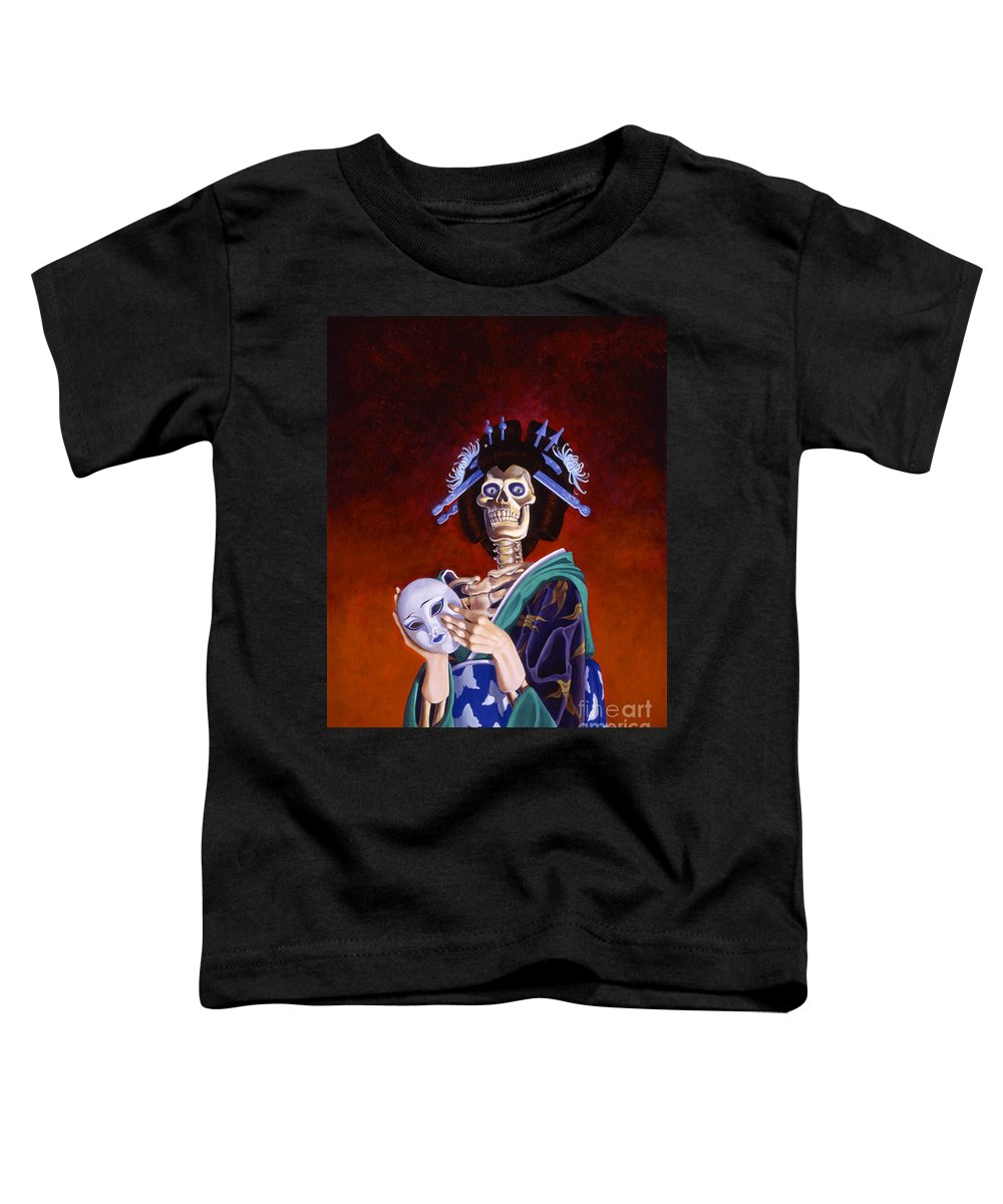 Skeleton Toddler T-Shirt featuring the painting Skeletal Geisha With Mask by Melissa A Benson