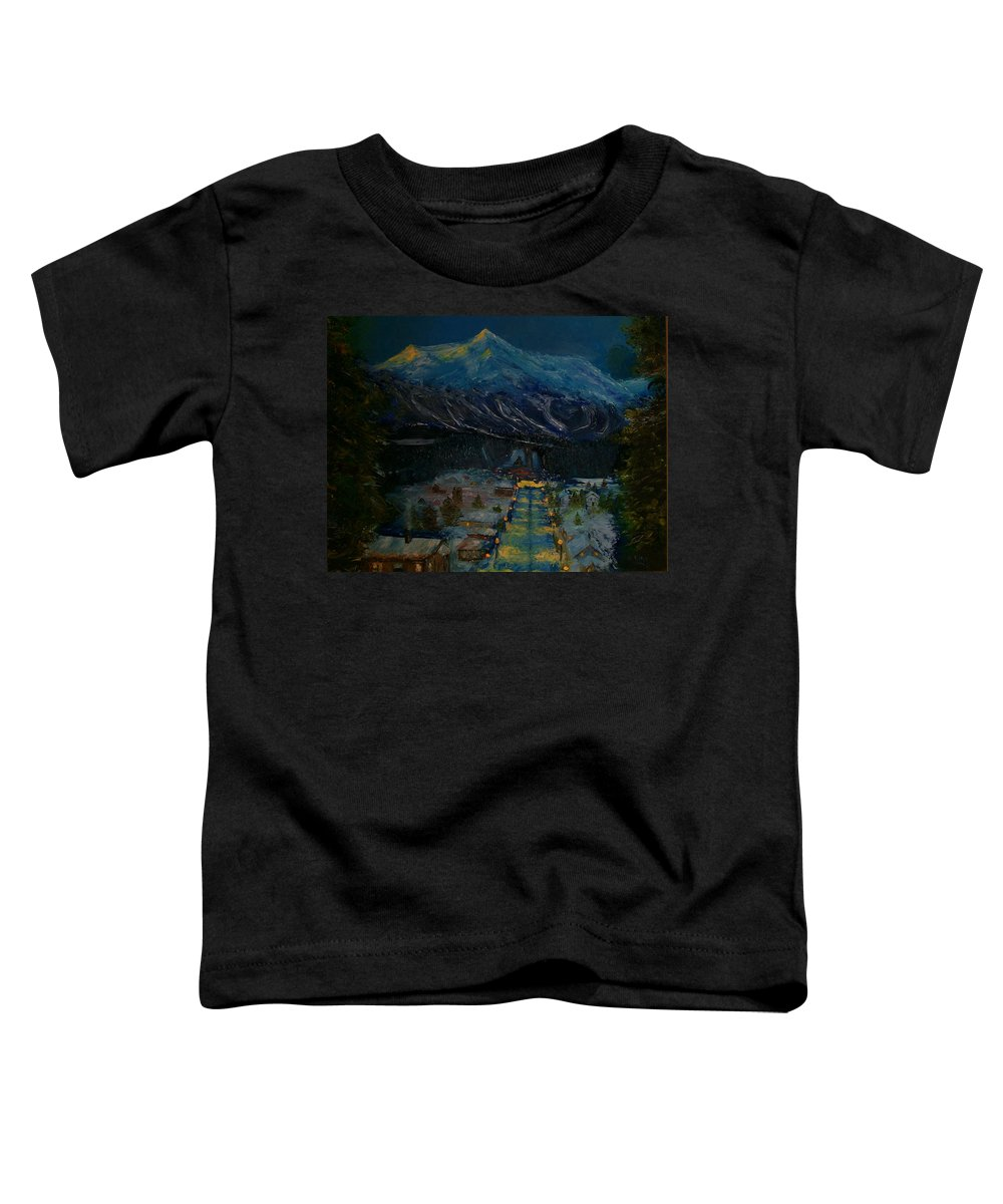 Winter Toddler T-Shirt featuring the painting Ski Resort by Stephen King