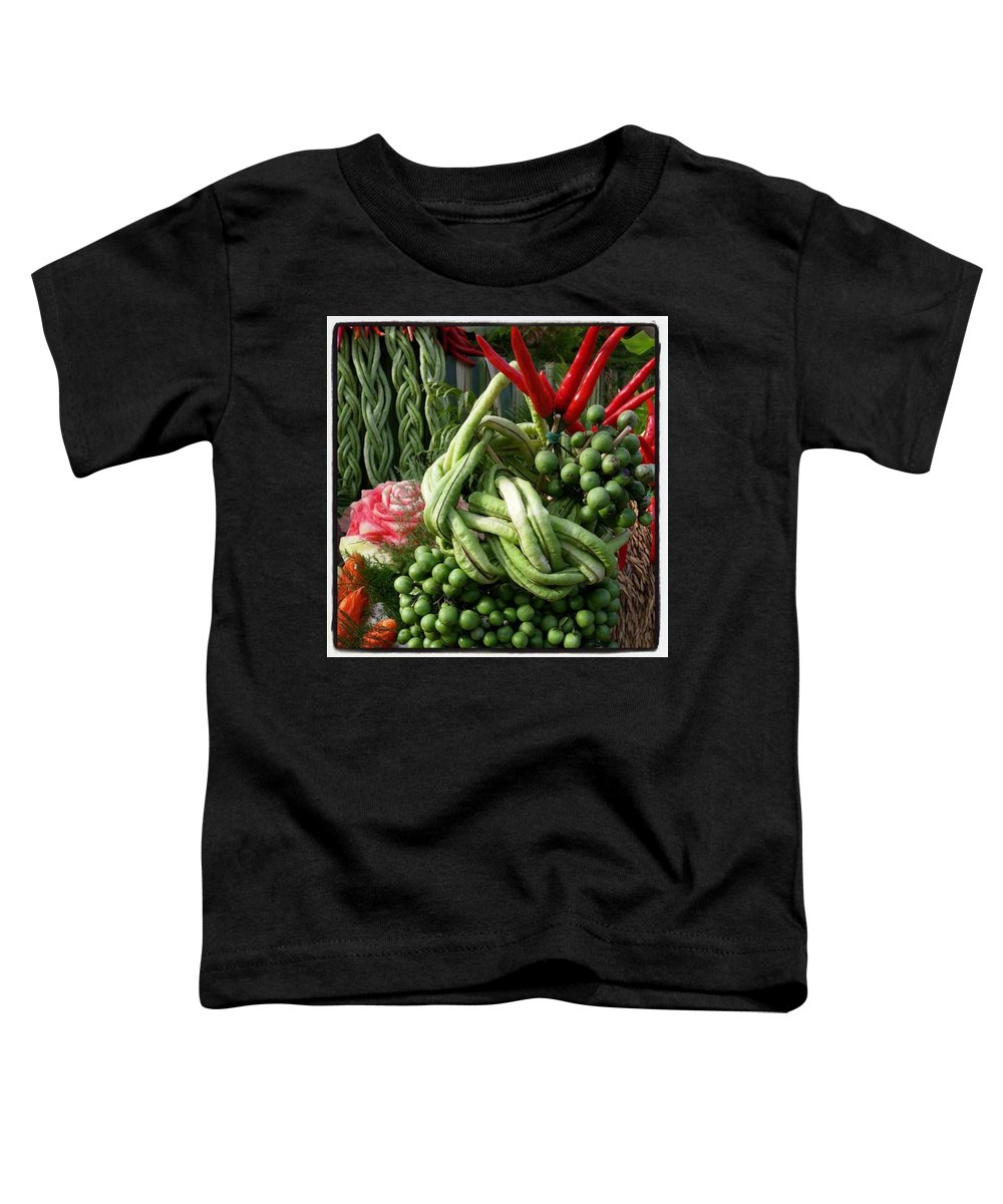 Toddler T-Shirt featuring the photograph Snake Beans. At The Surin Elephant by Mr Photojimsf